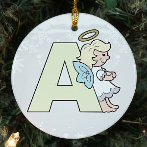 Personalized Ceramic Alphabet Angel Ornament