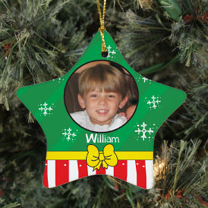 Personalized Ceramic Christmas Present Photo Star Ornament