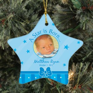 New Baby Boy Photo Ornament