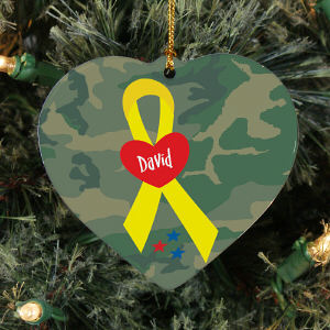 Personalized Ceramic Military Ribbon Ornament