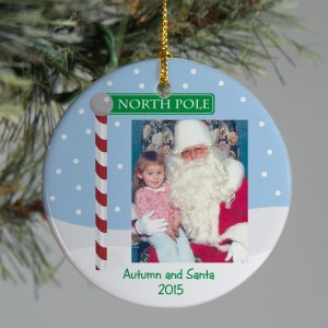 Personalized Ceramic Visit With Santa Ornament