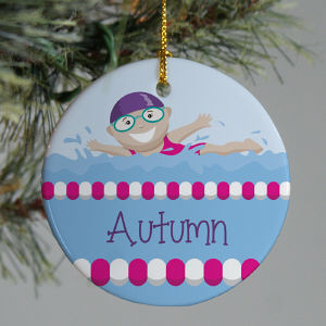 Personalized Ceramic Girl Swimmer Ornament