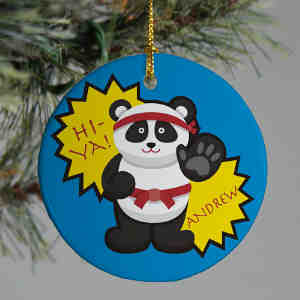 Personalized Ceramic Karate Panda Ornament