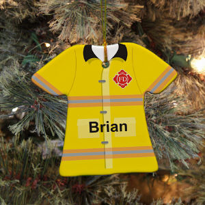 Personalized Ceramic Firefighter Ornament