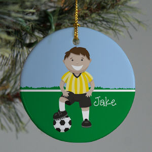 Personalized Ceramic Boy Soccer Ornament