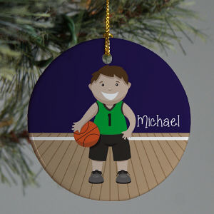 Personalized Ceramic Boy Basketball Ornament