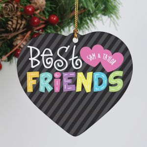 Personalized Ceramic Best Friends Heart Ornament