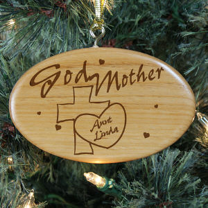 Engraved Godmother Wooden Oval Ornament