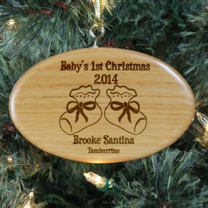 Engraved Baby's 1st Christmas Wooden Oval Ornament