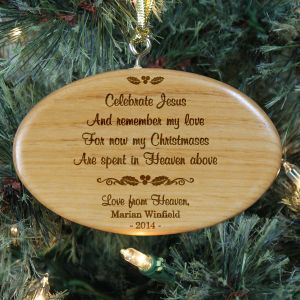 Engraved Christmas In Heaven Memorial Oval Wooden Ornament