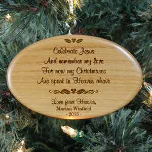 Engraved Memorial Wooden Ornament