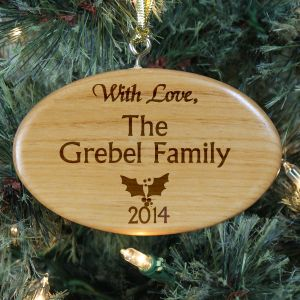 Engraved Family Christmas Wooden Oval Ornament