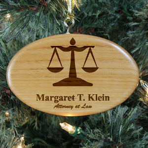 Engraved Lawyer Wooden Oval Ornament