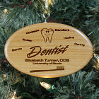 Engraved Dentist Wooden Oval Ornament