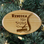 Engraved Hair Stylist Wooden Oval Ornament