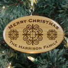Engraved Merry Christmas Wooden Oval Ornament