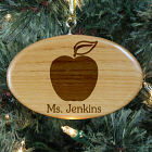 Engraved Teacher Wooden Oval Ornament