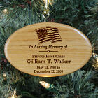Engraved Military Memorial Wooden Oval Ornament