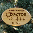 Engraved Doctor Wooden Oval Ornament