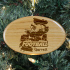 Engraved Football Player Wooden Oval Ornament