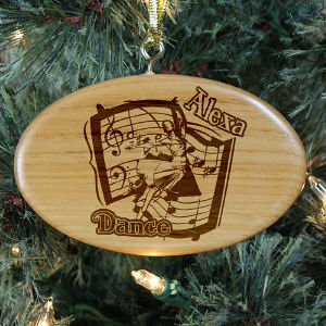 Engraved Dance Wooden Oval Ornament