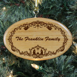Engraved Family Nativity Christmas Wooden Oval Ornament