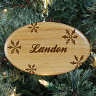 Engraved Snowflakes Wooden Oval Ornament