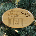 Engraved Computer Wooden Oval Ornament