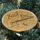 Engraved Guitar Wooden Oval Ornament