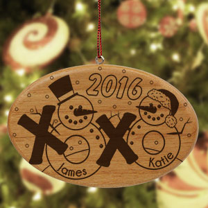 Engraved Snowman Couple Wooden Ornament