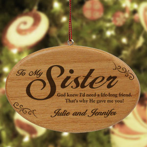 Engraved Wooden Sister Ornament