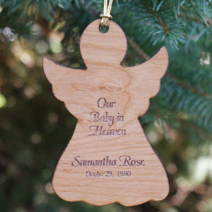 Baby In Heaven Engraved Memorial Wood Ornament