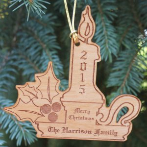 Personalized Christmas Candle Wood Ornament