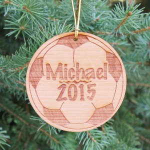 Personalized Soccer Wooden Christmas Ornament