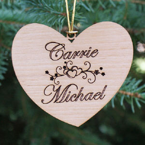 Personalized Couples Wooden Christmas Ornament