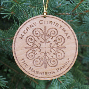 Personalized Wooden Merry Christmas Ornament