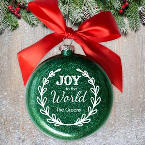 Personalized Joy to the World Glass Ornament 81072212MM