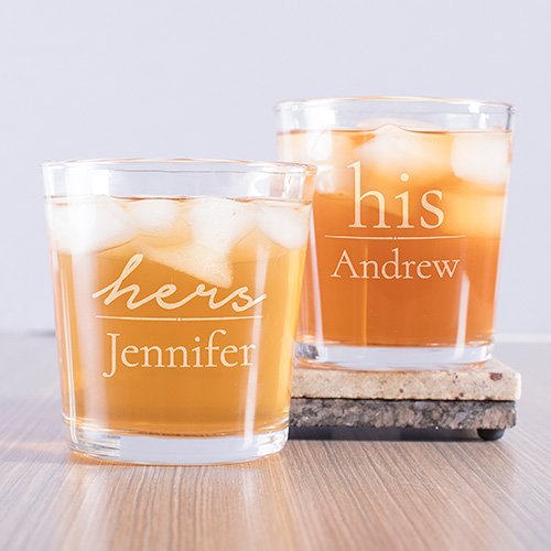 Engraved His and Hers Couple's Rocks Glass Set L10926196