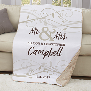 Personalized Mr & Mrs Wedding Sherpa Throw U1094687