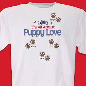 It's All About Puppy Love Personalized Pet T-shirt