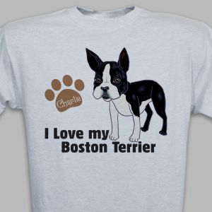 Personalized I Love My Boston Terrier T-Shirt