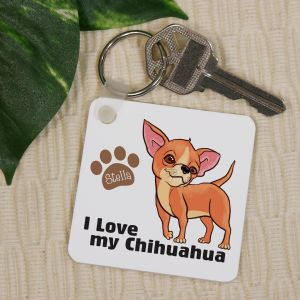 Personalized I Love My Chihuahua Key Chain