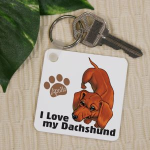Personalized I Love My Dachshund Key Chain