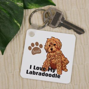 Personalized I Love My Labradoodle Key Chain