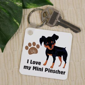 Personalized I Love My Mini Pinscher Key Chain
