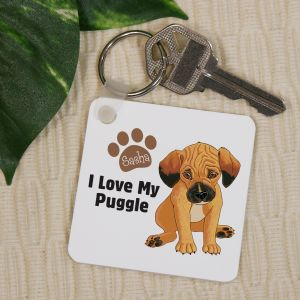 Personalized I Love My Puggle Key Chain