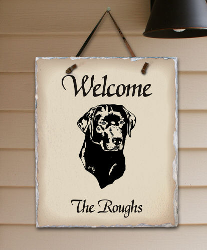 Welcome Dog Breed Personalized Slate Plaque | Personalized Welcome Signs