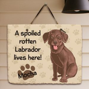 Personalized Chocolate Lab Spoiled Here Slate Plaque