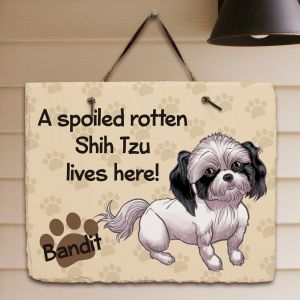 Personalized Shih Tzu Spoiled Here Slate Plaque