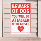 Personalized Attacked With Kisses Metal Wall Sign